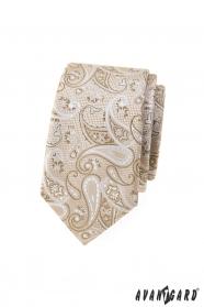 Beżowy wąski krawat we wzór paisley