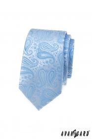 Wąski krawat w jasnoniebieski wzór paisley