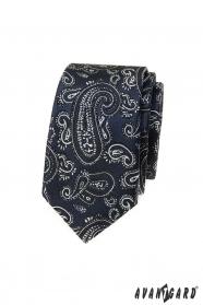 Granatowy wąski krawat z motywem paisley