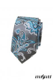 Szary wąski krawat z turkusowym motywem paisley