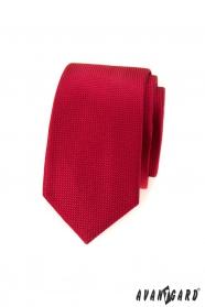 Slim krawat męski w czerwoną teksturę
