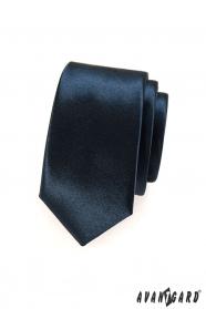 Wąski krawat męski niebieski w kolorze granatowym