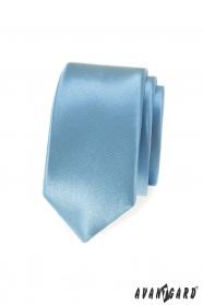 Jasnoniebieski, błyszczący wąski krawat