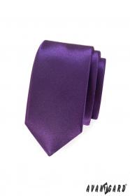 Gładki fioletowy wąski krawat