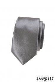 Wąski krawat grafitowy monochromatyczny