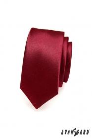 Gładki wąski bordowy krawat