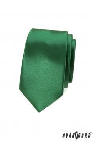 Wąski krawat w błyszczącym odcieniu zieleni