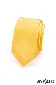 Wąski krawat gładki żółty