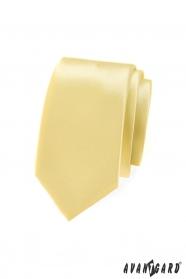 Jasnożółty wąski krawat