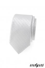 Biały wąski krawat z ozdobnymi paskami