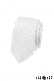 Biały wąski krawat w błyszczące paski
