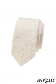Wąski krawat Avantgard w kremowym odcieniu
