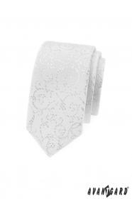 Biały wąski krawat ze srebrnymi zdobieniami