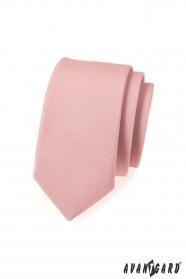 Wąski krawat w modnym kolorze pudrowym