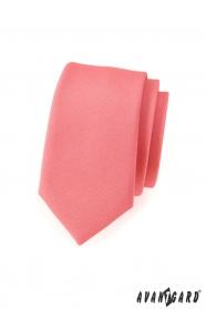 Wąski krawat SLIM stary różowy mat
