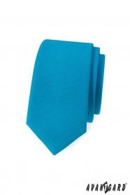 Wąski krawat w kolorze matowego turkusu