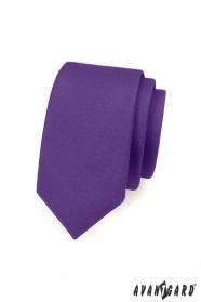 Ciemnofioletowy matt wąski krawat