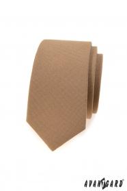 Jasnobrązowy wąski krawat