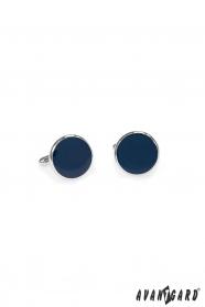 Okrągłe niebieskie spinki do mankietów