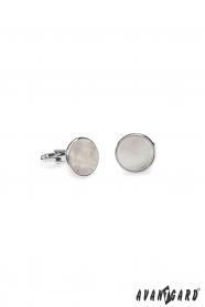 Okrągłe srebrne spinki do mankietów