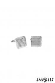 Kwadratowe okrągłe spinki do mankietów w kolorze srebrnym