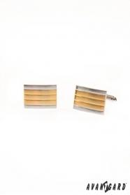 Spinki do mankietów - srebrne złote paski