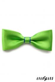 Zielona muszka z niebieskim paskiem i poszetką