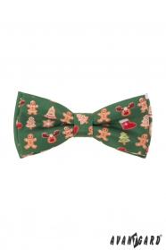 Zielona muszka ze świątecznym wzorem