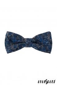 Niebieska muszka z poszetką, kolorowy wzór Paisley
