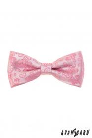Różowa muszka ze wzorem Paisley + poszetka