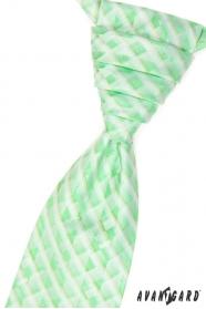 Krawat ślubny z poszetką - zielona kratka