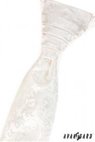 Kremowy wzorzysty krawat ślubny