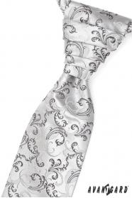 Krawat ślubny czarno-szare motywy