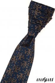 Elegancki niebieski wzorzysty krawat ślubny