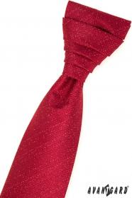 Czerwony angielski krawat w komplet z poszetką