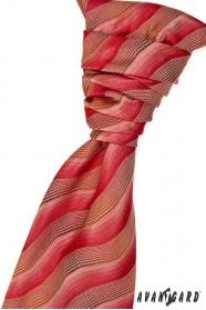 Krawat ślubny z poszetką - czerwonawo-brązowy