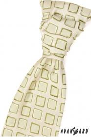 Krawat ślubny zielone kwadraty
