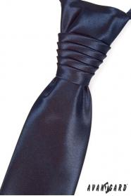 Angielski krawat z poszetką Granatowy
