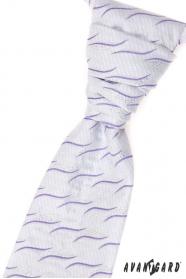 Krawat ślubny z poszetką - liliowe faluje