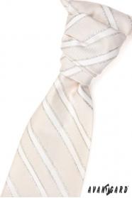 Ślubny krawat w beżowe srebrne paski