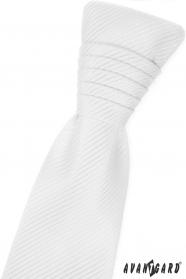 Biały angielski krawat w błyszczące paski