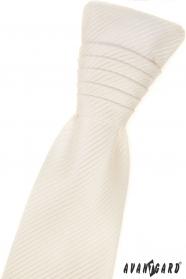 Kremowy angielski krawat w paski i poszetkę