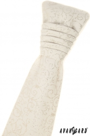 Kremowy angielski krawat z poszetką - srebrny wzór