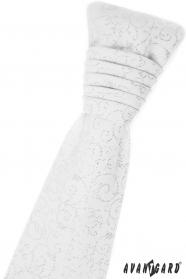 Biały angielski krawat z błyszczącymi ozdobami