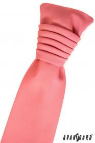 Krawat ślubny matowy koral
