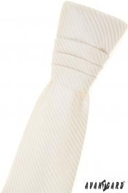 Angielski krawat dla chłopców, kremowy z paskiem