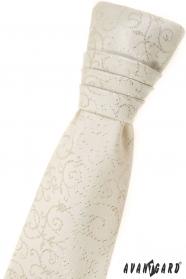 Kremowy angielski krawat dla chłopca ze wzorem