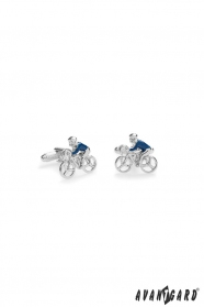 Spinki do mankietów - rowerzysta w kolorze niebieskim