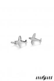Spinki do mankietów samolot srebrny