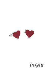 Spinki do mankietów - czerwone serce